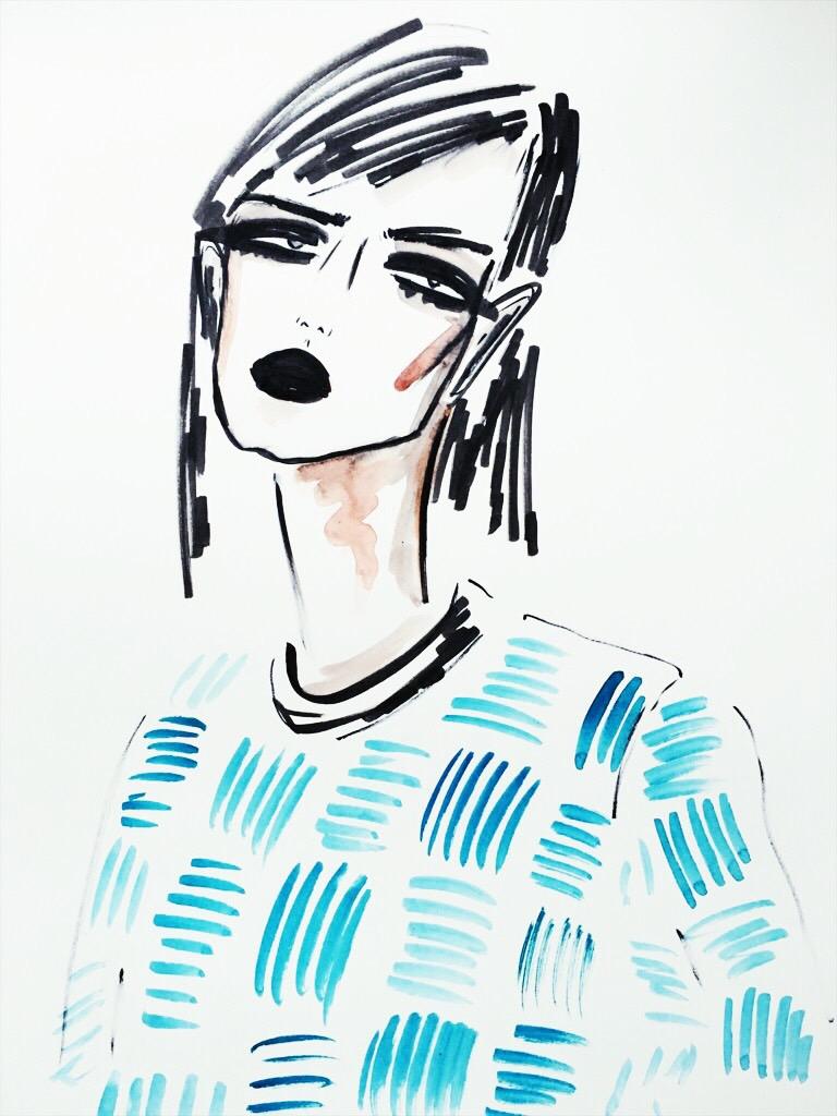 fashion illustration black heart