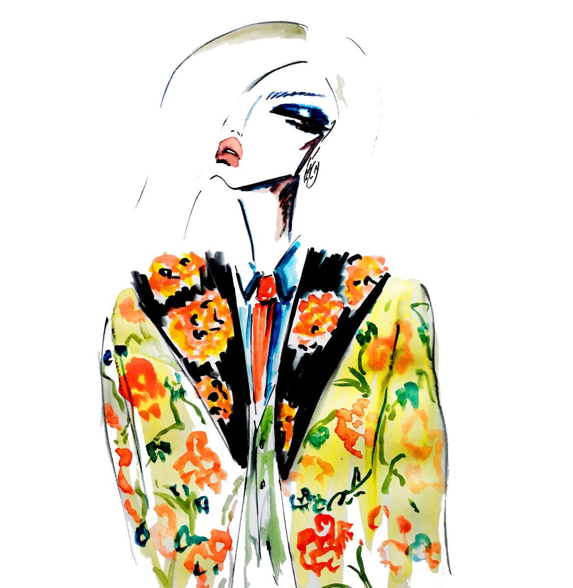 fashion illustration lipstick flowers